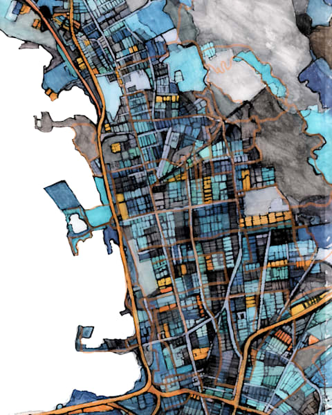 Abstract Map Print – Modern Map Art of BERKELEY CA. City Travel Print | Neighborhood Print | Modern City Map | Abstract City Print