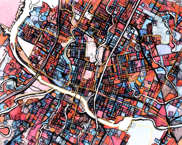 City Neighborhood – Modern City Map Print of AUSTIN TX. Neighborhood Map | Neighborhood Print | Modern City Map | Abstract City Print