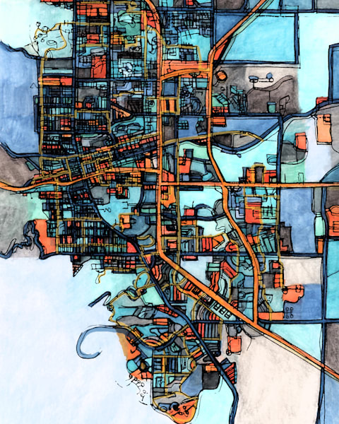 Abstract Office Art – Neighborhood Map of BOULDER CO. Abstract Map Print | Abstract City Print | Modern City Map | City Travel Print