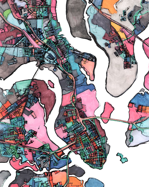 City Neighborhood Print – Modern City Print of CHARLESTON SC. Abstract Map Print | Neighborhood Map | City Travel Print | Modern Map Art