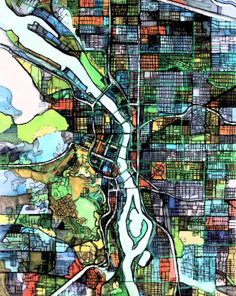 City Travel Print –City Neighborhood Print of PORTLAND OR. Modern City Map | Abstract City Print | Modern City Map | Abstract City Print