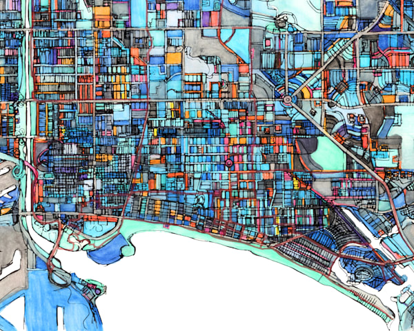 City Travel Print –City Neighborhood Print of LONG BEACH CA. Abstract Map Print | Modern City Map | Abstract City Print | Modern Map Art