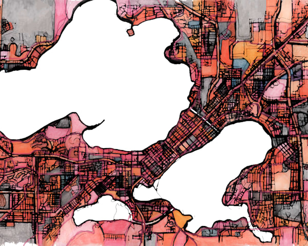 Abstract Map Print – Modern Map Art of MADISON WI. City Travel Print | Neighborhood Print | Modern City Map | Abstract City Print