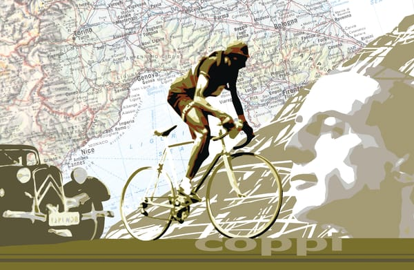 Fausto Coppi, nostalgia, vintage Tour de France, vintage cycling art cycling map, France, Italy, Giro, retro cycling, motivational art, cycling celebrity, cycling star,