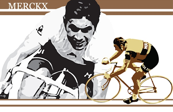 Eddy Merckx, retro cycling, commemorative cycling art, vintage cycling, world champion, vintage Tour de France,