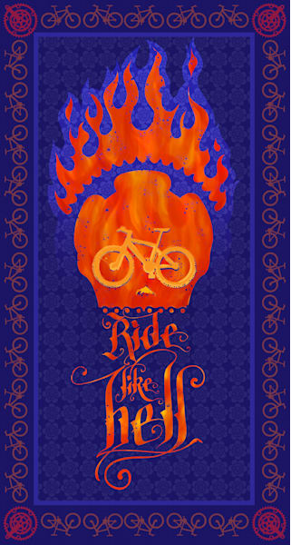 Ride like Hell, mountain bike art, skull art, bike art, cycling art, typography, collectible prints and posters