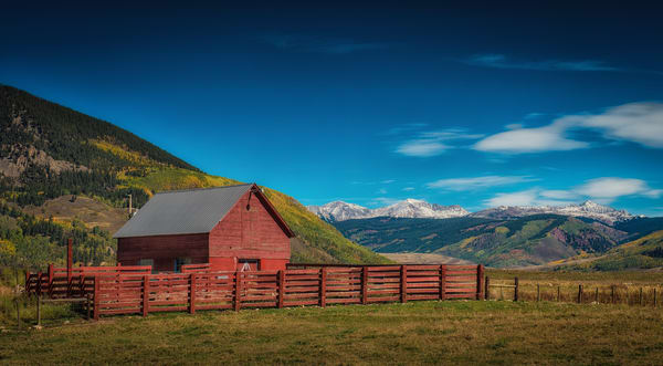Photograph of Colorado Ranch, Red Barn & Fence Crested Butte