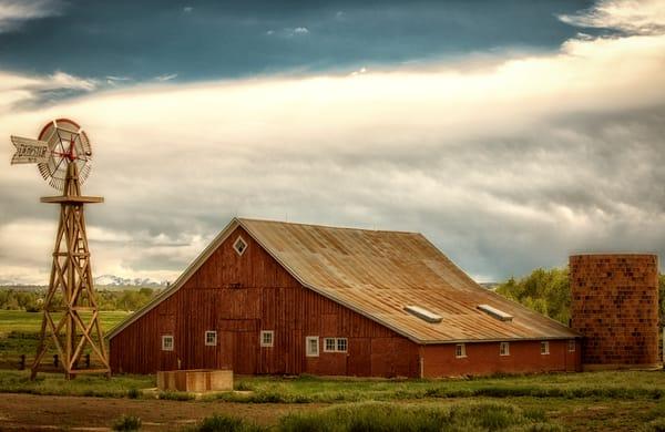 Photograph of Red Colorado Barn & Brick Grain Silo in Parker Colorado