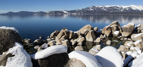 Tahoe Snowy Rocks, Lake Tahoe winter photo art print