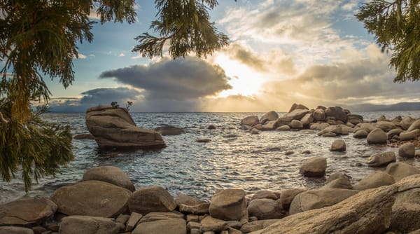 Through The Trees, Bonsai Rock Lake Tahoe Photography Art Print