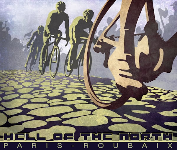Roubaix Hell of the North cycling classic print