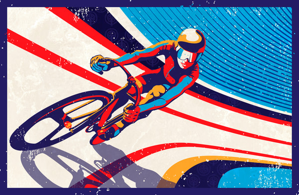 retro style track cycling fine art prints and illustrations, cycling art, bike art, retro cycling, track cyclist,