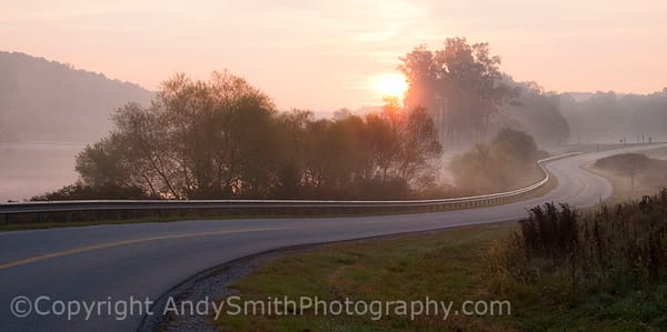 fine art photogrpah of sunrise on a misty morning at Chambers Lake