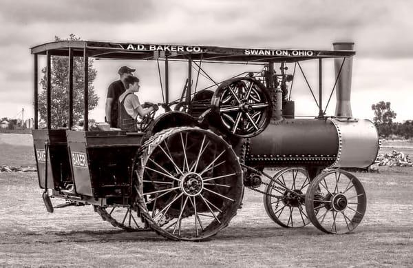Baker Swanton Steam Powered Tractor Black & White fleblanc