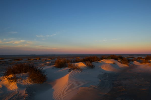 sunset over dunes beach art print
