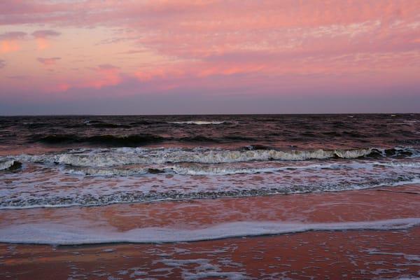 small waves at sunset beach art print