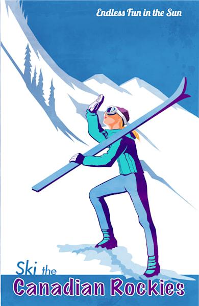 ski Canadian Rockies retro ski print and posters