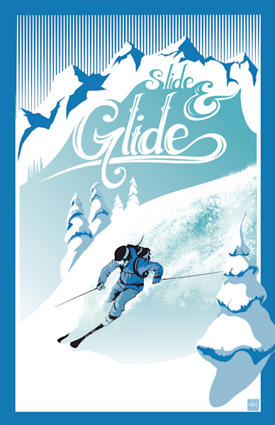 Slide and Glide retro ski fine art prints and posters