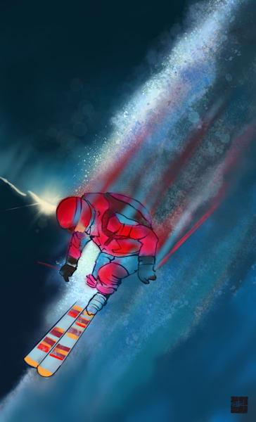 Downhill Ski Northern Lights