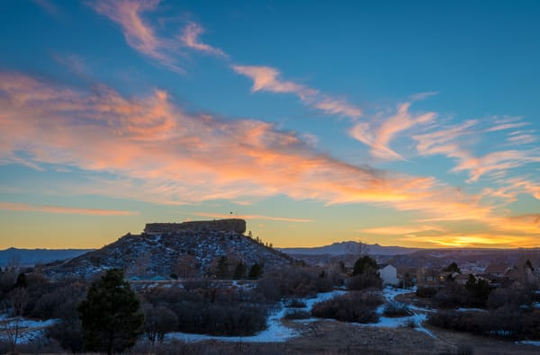 Photograph of Castle Rock Colorado Winter Sunset Blue Sky Pink Clouds