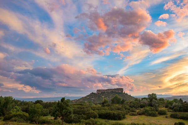 Sunset Photograph Castle Rock Colorado Rock Blue Sky Pink Yellow Clouds