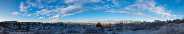 Panoramic Photo of Castle Rock Colorado with Light Dusting of Snow