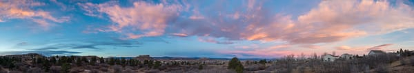 Panorama Photo of Castle Rock Colorado Fall Blue sky Pink Cloud Sunrise