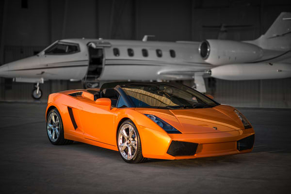 Photo of Lamborghini Gallardo with Private Luxury Jet at Colorado Airport