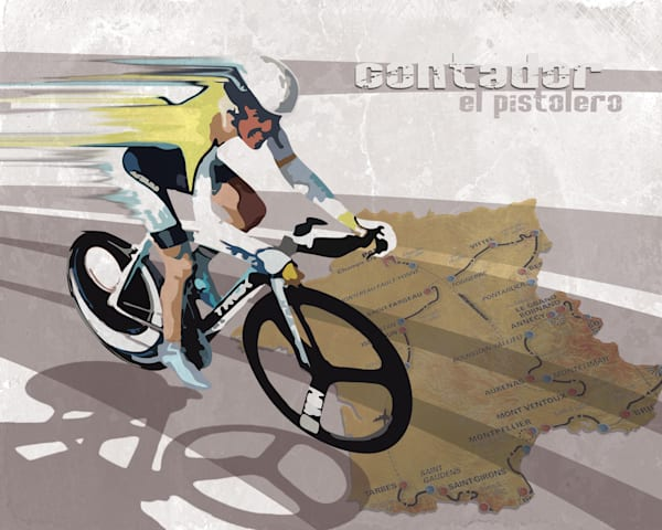Alberto Contador El Pistolero retro cycling fine art prints, and posters