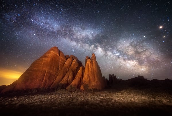 Night At The Fins, Milky Way above Sand Dune Arch in Arches National Park