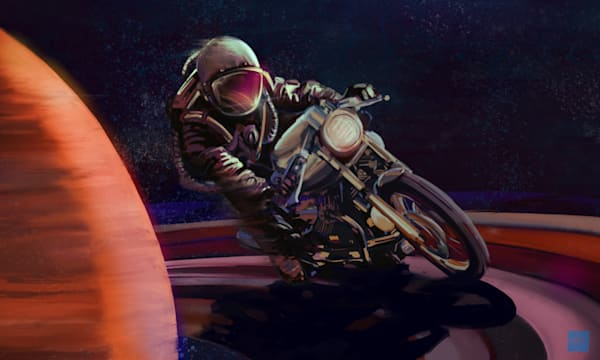 Cosmic Cafe Racer by Sassan Filsoof available as prints, canvas or metal prints