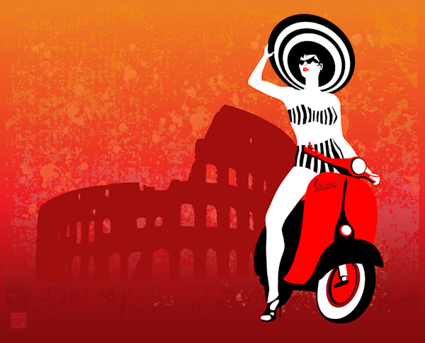 Retro Vespa Woman in Rome by Sassan Filsoof. Available as fine art print