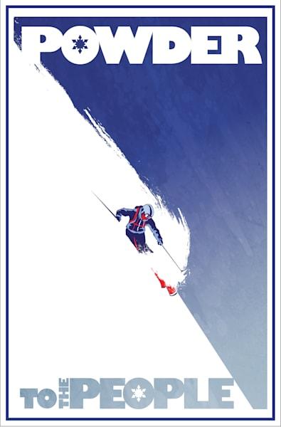 retro modern powder to the people alpine downhill ski art poster, Revelstoke, blue and white, slogan art by Sassan Filsoof.
