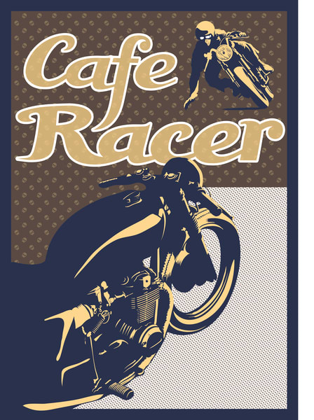 vintage cafe racer by Sassan Filsoof, available as fine art print