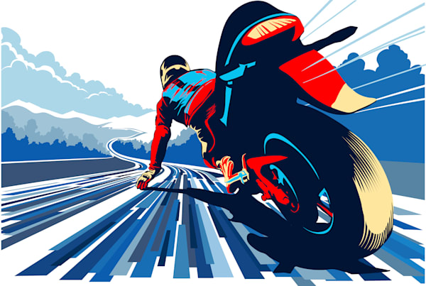 Need for speed motor cycle art print on paper, canvas, or metal