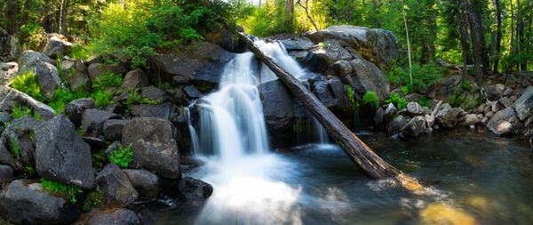 Secret Falls, Lake Tahoe waterfall panorama photo