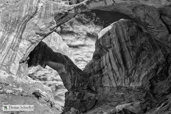 The Double Arch natural formation Of Arches National Park Utah/A fine art B&W print by Tom Schoeller, the artist