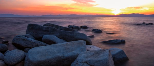 East Shore Rocks, Lake Tahoe Sunset Photo Print