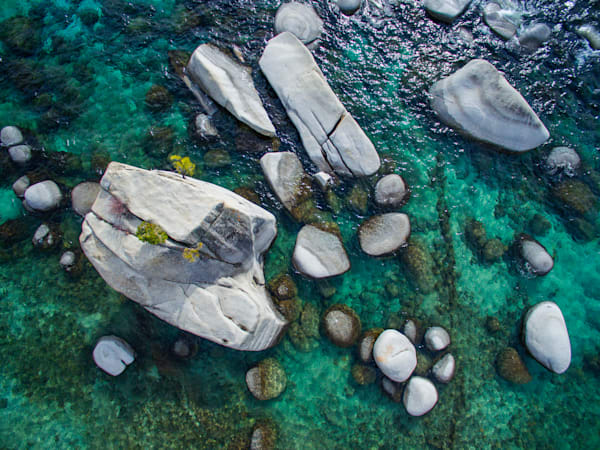 Emerald Waters, Bonsai Rock Lake Tahoe Aerial Photo Print