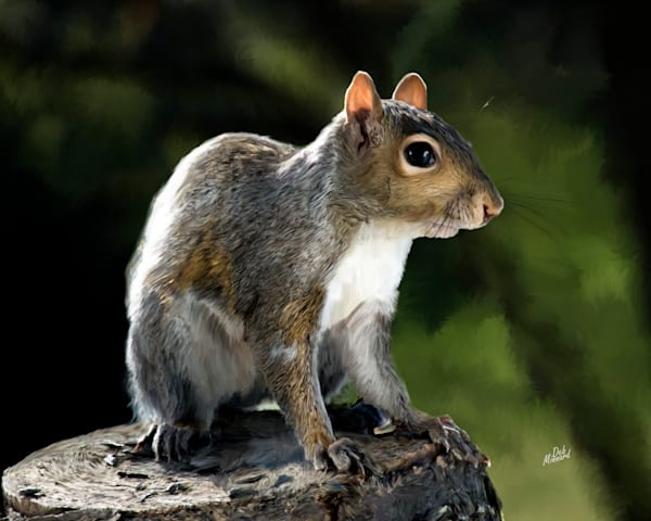 Digital art painting of a squirrell sitting on a stump.