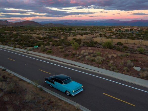 Rick's 55 chevy , Classic Car Aerial Photo Print