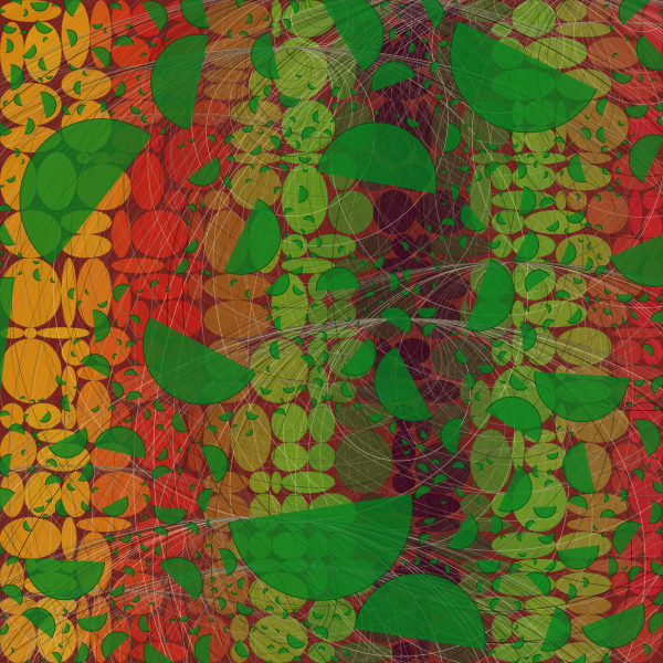 Citrus World algorithmic wall art by Peter McClard