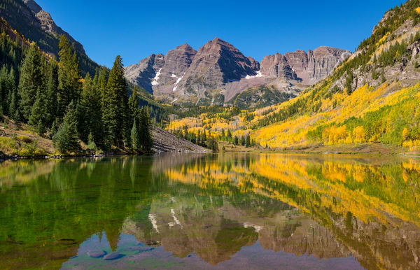 Aspen Maroon Bells Bright Fall Colors Wall Prints