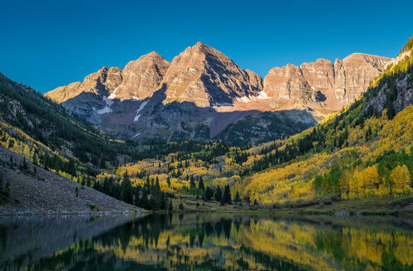 Majestic Aspen Colorado Maroon Bells Sunrise Illuminating Mountain Peaks