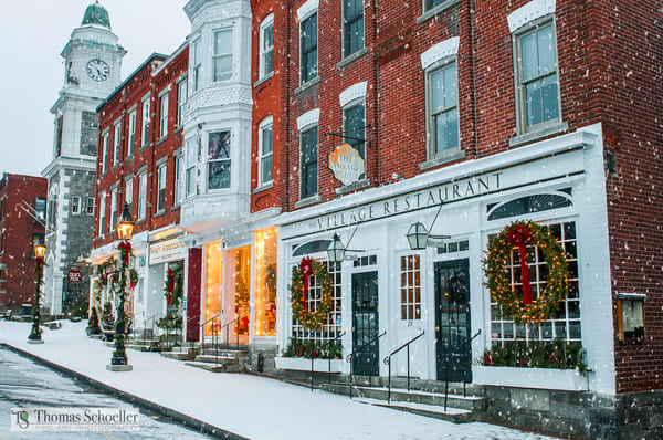 Downtown Litchfield Connecticut spreads the Holiday Cheer! A Fine Art photograph from the historic village Green by Thom Schoeller