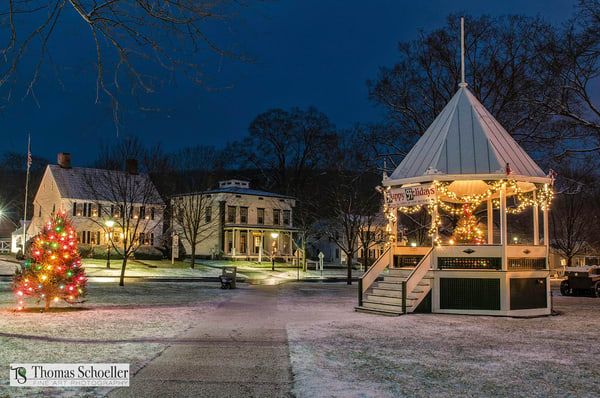 Picturesque New England village winter scene/fine art photography prints of New Milford Connecticut available to purchase