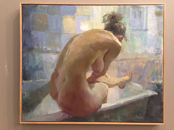 Nude figure painting of a bather by Eric Wallis