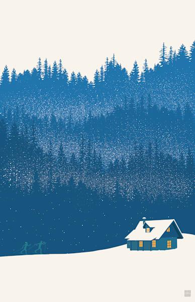 blue winter wonderland, winter landscape scene and cabin with Nordic ski art by Sassan Filsoof,