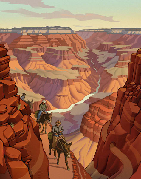 Fun, nostalgic, wild west AZ themed artwork for editorial and storytelling.