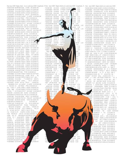 Ballerina on stock market bull graffiti art by Sassan Filsoof